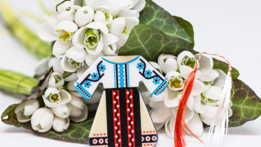 snowdrops bouquet and decorative item martisor romanian bulgarian first of march spring tradition