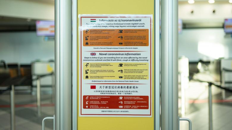 Budapest, Hungary - Febr 25, 2020: Ferenc Liszt International Airport, Budapest. Warning sign advises on epidemic illness from Coronavirus 2019-nCoV i