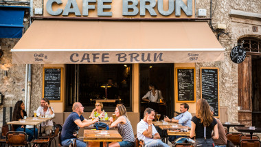 Cafe Brun, Antibes, Provence-Alpes-Cote d'Azur, French Riviera, France