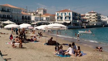 GREECE Athens. The Saronic Gulf Spetses Town beach.
