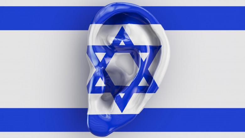 Israeli intelligence concept, ear on the flag of Israel. 3D rendering