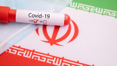 Mask Prevention of Respiratory Disease Caused by Covid-19, Coronavirus or nCov 2019 Protective Mask with positive blood sample on Iran Flag
