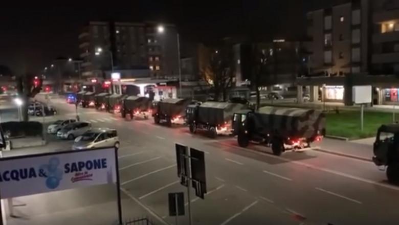 camioane militare transportand cadavre