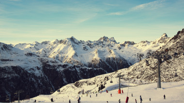 Panorama of the Alpine mountains in the evening at the ski resort of Ischgl, Austria..