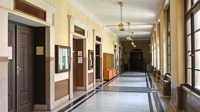 Corridor of the university building, Debrecen, Hungary