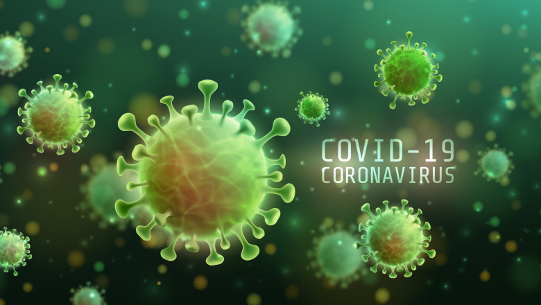 Vector of Coronavirus 2019-nCoV and Virus background with disease cells. COVID-19 Corona virus outbreaking and Pandemic medical health risk concept. Vector illustration eps 10