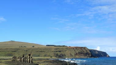 Moai statues of Ahu Tongariki with Pacific ocean in the Backdrop, Archaeological site in Easter Island, Chile, South America