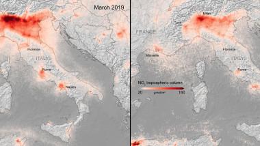 imagini surprinse de satelitul Copernicus, al Agenţiei Europene pentru Spaţiu, care arată reducerea poluării deasupra Italiei, datorate coronavirusului
