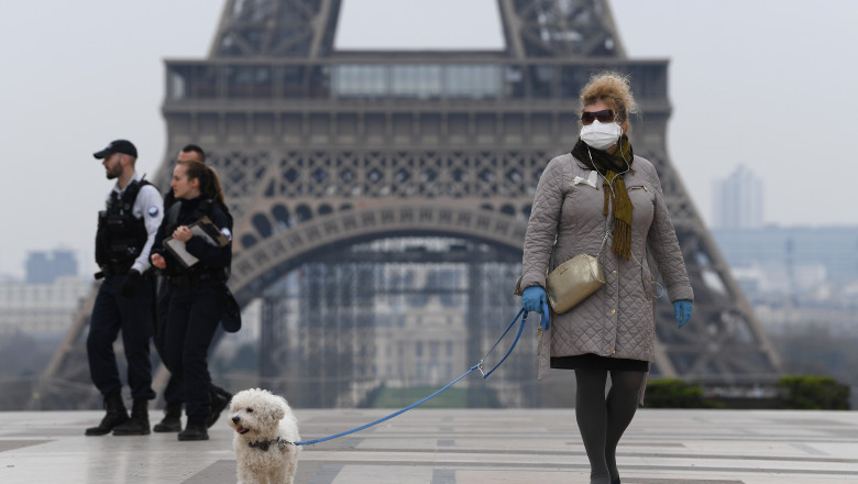 Paris, Franţa, în timpul pandemiei de coronavirus
