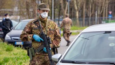 militari şi carabinieri la punct de control în Milano, Italia, epidemie de coronavirus