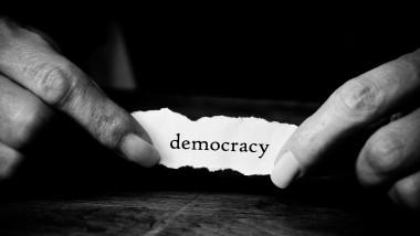 concept paper in hands - Democraty