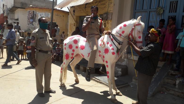 Un politist din India a vopsit calul pentru a atrage atentia asupra coronavirusului