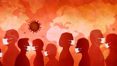 ilustrație cu siluete de oameni care poartă măști în timpul pandemiei de coronavirus, COVID-19