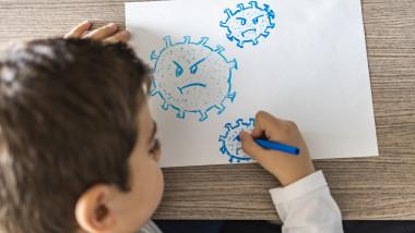 Copil desenează coronavirusul
