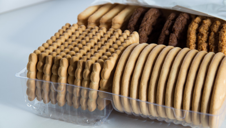 Assorted biscuits in a packaging tray