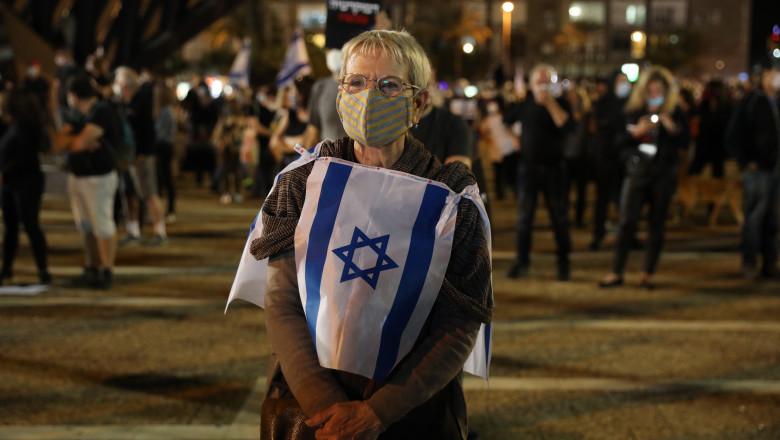 """Protest în vreme de pandemie. Israelienii au ieșit în stradă pentru """"a salva democrația"""", dar au respectat distanțarea socială"""