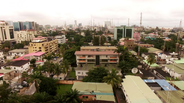 Aerial view over Lagos, Nigeria