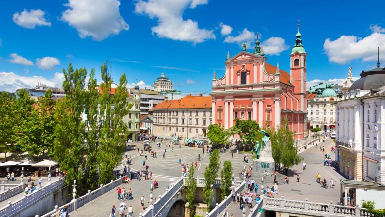 centrul oraşului Ljubljana, capitala Sloveniei