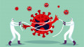 Concept illustration, two doctors are fighting the spread of the virus during the pandemic CoVID-19. The fight against the virus, a poster in a cartoon style. Vector illustration.