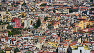 Detailed view of the old town of Naples