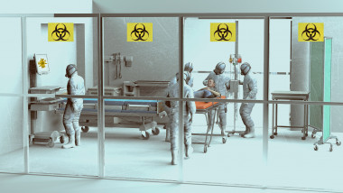 Hospital scene, hospitalization for emergency contagion risk. Coronavirus. Doctors in protective suits and masks to cover the face.