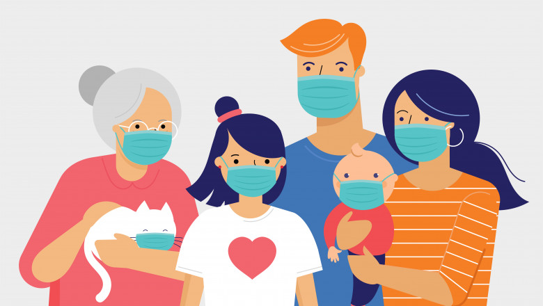 Family, mother, father, baby and a girl wearing medical masks during coronavirus outbreak. Covid-19 concept. Self isolation, quarantine. Vector flat style illustration