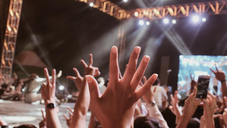 mulțime de oameni cu mâinile ridicate în timpul unui concert