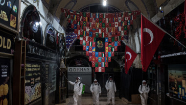 Disinfecting Teams Clean Istanbul's Grand Bazaar Amid Coronavirus Outbreak