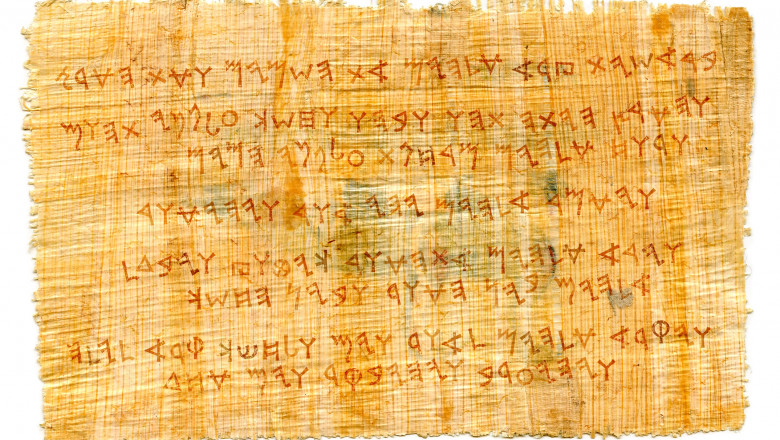 The Ancient Phoenician manuscript. The most first Alphabet in The World, The Middle East, c.1500–1200 B.C. || the text of the First Day of Creation (The Book of Genesis 1:1-5), the consonantal proto-writing [from right to left].