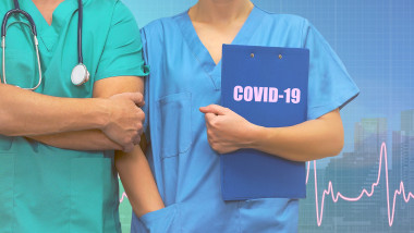 Professional surgeon man and woman nurse with medical records in folder standing on ecg line medical blue city background. Medical coronavirus pandemic help concept in countries.