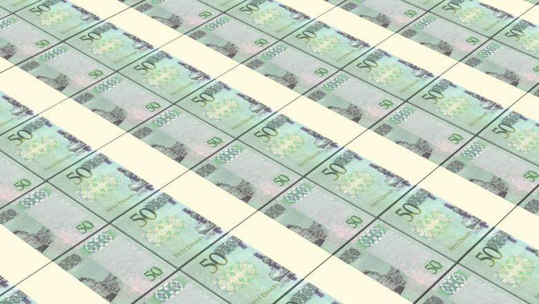 Libyan dinar bills stacks background.