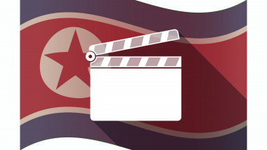 Long shadow North Korea flag with a clapperboard