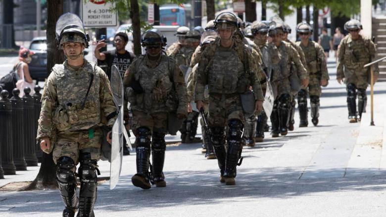 militari americani în timpul protestelor din Washington, SUA cauzate de moartea lui George Floyd