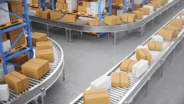 Packages delivery, parcels transportation system concept, cardboard boxes on conveyor belt in warehouse. Warehouse with cardboard boxes inside on pallets racks. Huge modern warehouse, 3D Illustration