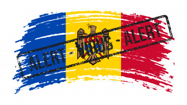 Moldova torn flag with a stamp with the words alert virus, vector