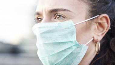 O tanara poarta masca pentru a se proteja impotriva infectarii cu coronavirus