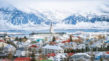 Vedere aeriana Reykjavik, capitala Islandei