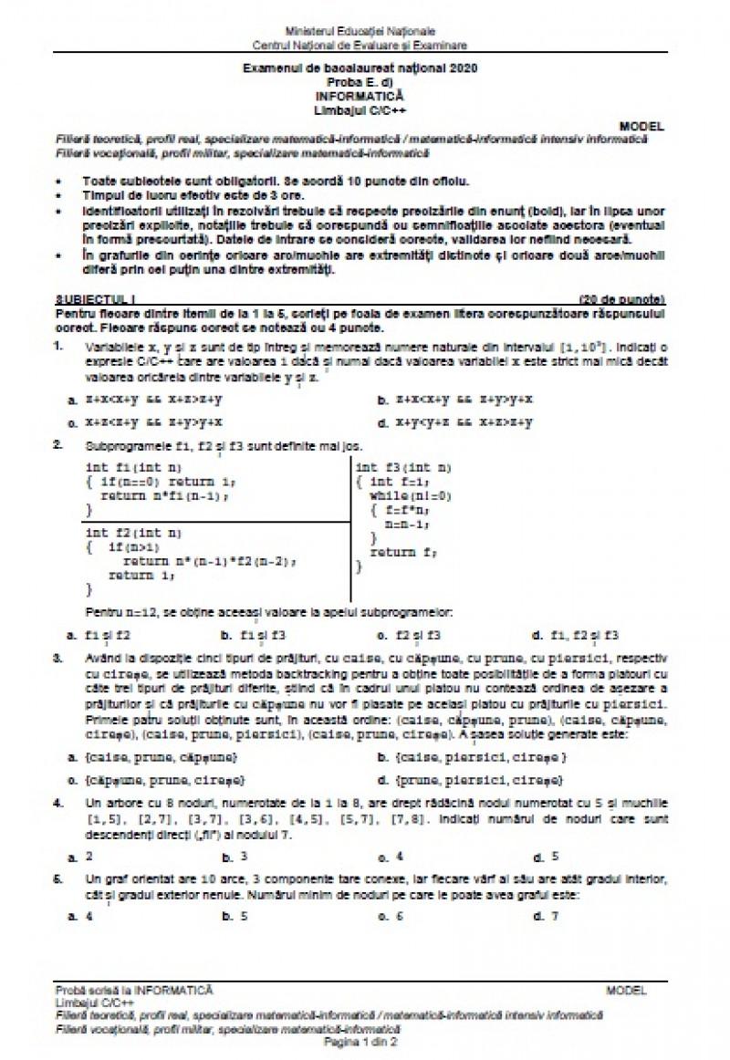 Model subiecte la Informatică BAC 2020, matematică-informatică - Limbaj C/C++