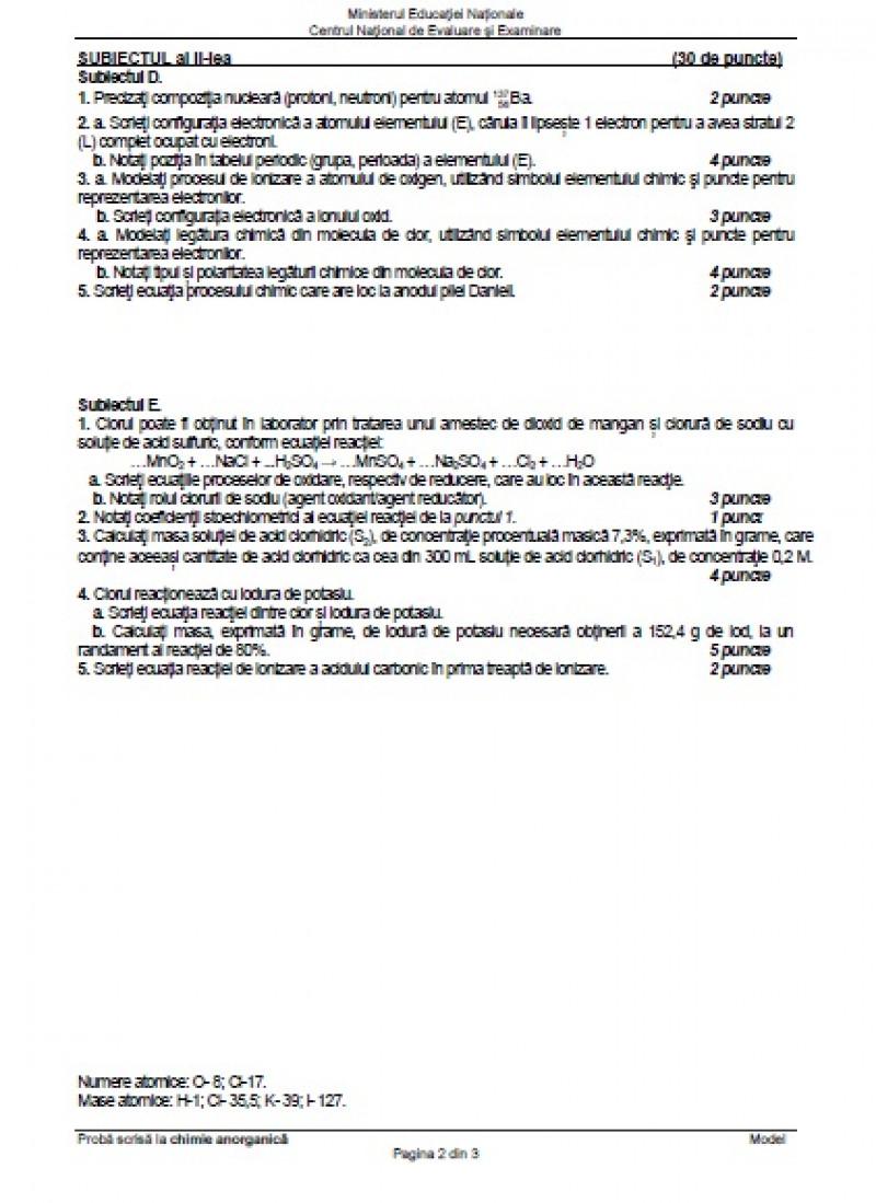 Model subiecte la Chimie Anorganică BAC 2020