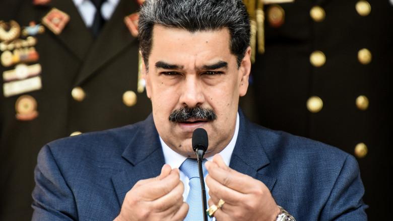 Nicolas Maduro în timpul unui discurs