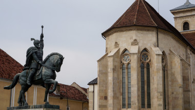 Statue of Mihai the Brave and Cathedral in Alba Iulia, Romania