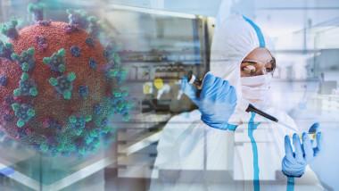 Female scientist researching coronavirus in laboratory