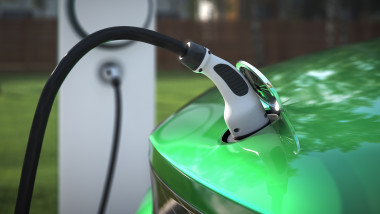 Charging your EV at home with a charging plug close up 3d rendering