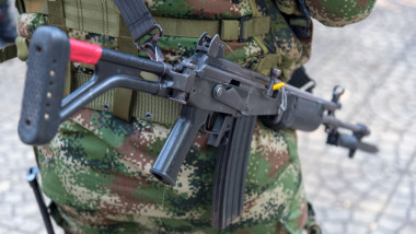 Combat rifle of a Colombian soldier.