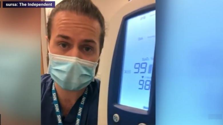 Un medic britanic face o demonstrație practica despre saturatia de oxigen atunci cand purtam masca de protectie