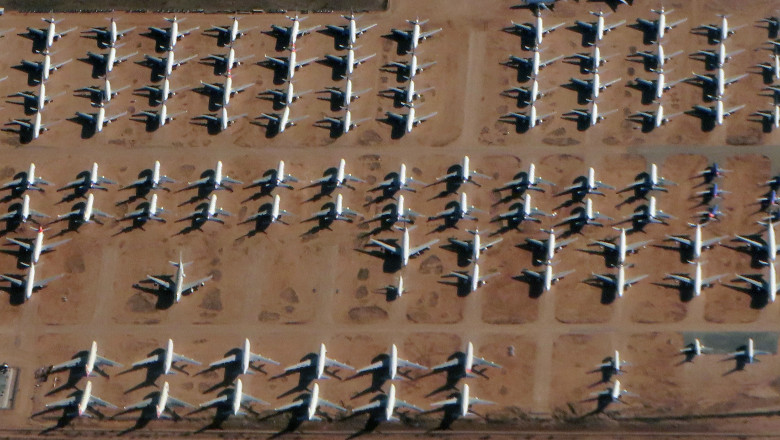 Aircraft bone Yard Airliner Parked airplanes Boeing Airbus large jets