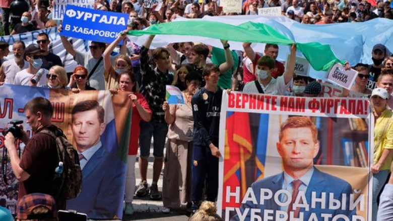 Rally in protest against Governor Furgal's arrest in Khabarovsk, Russia