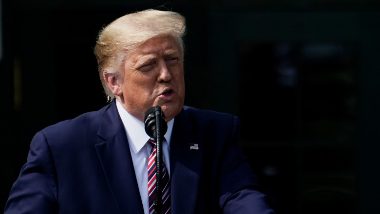 Presedintele SUA, Donald Trump, sustine o conferinta de presa la Casa Alba