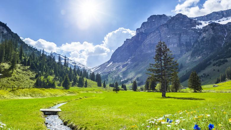 Beautiful Swiss Mountains in Springtime