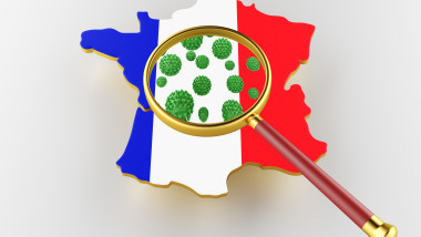 Contagious HIV AIDS, Flur or Coronavirus with France map. 3D rendering